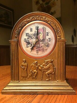 Antique Solid Metal 1933 United Pub Prohibition  Bar Clock Old Style w/New Motor