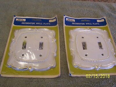 2 Double Vintage White & Gold Light Switch Outlet Cover Plate V6427-5C Nat Lock