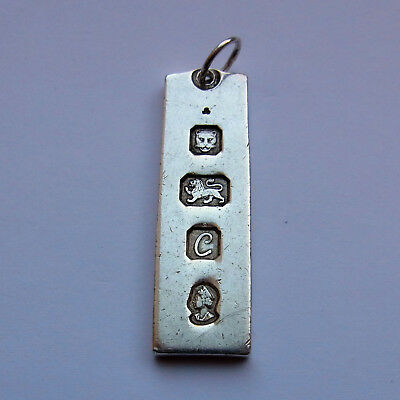 Sterling Silver Ingot Pendant - 15.3 grams - London 1977 - 42mm x 13mm x 2mm