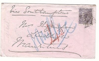 E7 GB UK 1867 Parsonstown -souillac  RRRR  British Mauritius Maurice Cover stamp
