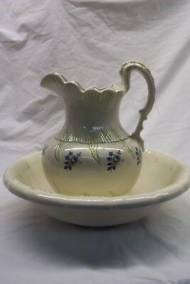 Beautiful Large Antique Wash Bowl and Pitcher with Hand Painted Accents