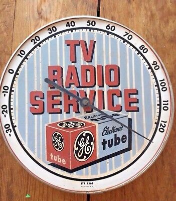 Vintage Original Round Advertising Thermometer  Sign for GE TV Radio Service
