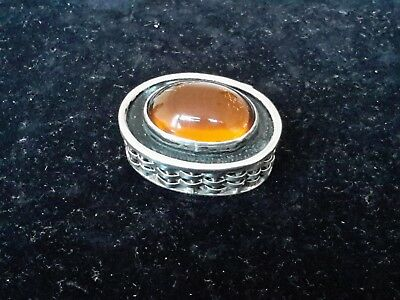 Solid Silver (925) HingedPill Box With Amber Stone Inlay