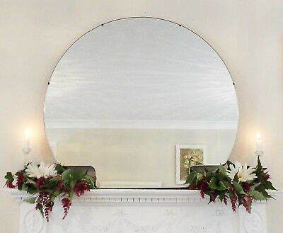 Art Deco Mirror, Frameless Feature Wall Shaped Overmantle Antique Mirror M257