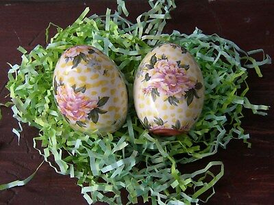 Vintage MacKenzie Childs Pottery SALT PEPPER Egg SHAKERS~BUTTERCUP Yellow Floral