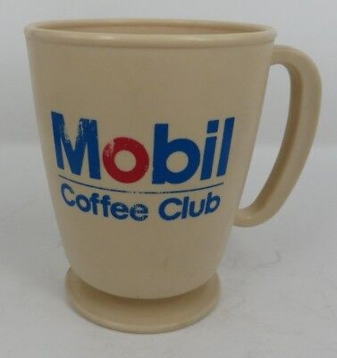 Mobil Oil Gas Service Stations Coffee Club plastic cup mug USA Made vInTaGe! :)