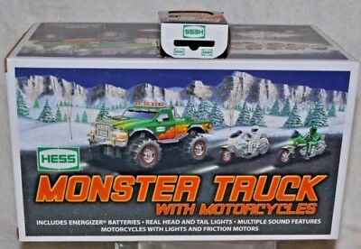 2007 Hess truck Monster Truck with Motorcycles in Box