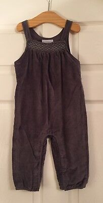 Little White Company Baby Girl Grey Velvet Dungarees, 12 To 18 Months