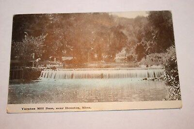 Old Post Card of YUCATAN Mill DAM near Houstion, minn. with one cent stamp