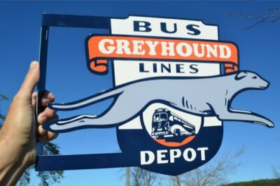 Old Style Greyhound Bus Lines Greyhound Dog Diecut Flange Sign Made In Usa Super