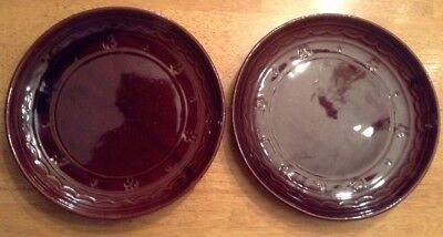 "Two Vintage 9.5"" Marcrest Stoneware Daisy & Dot Dinner Plate"