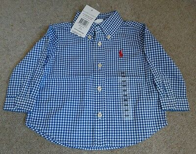 Baby boy Ralph Lauren blue and white shirt 6 months new with tags