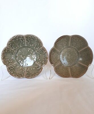 Lovely Pair of Antique Chinese Celedon Glazed Petal Bowls, Early 20 C.