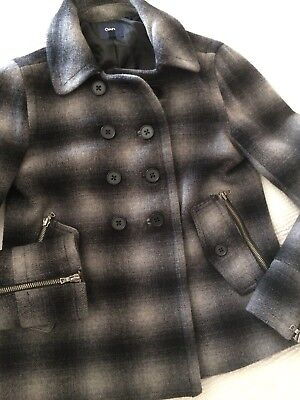 GAP Gray Black Plaid JaCKeT XS Extra Small WooL BLeND Double Breasted ZIP TRIM