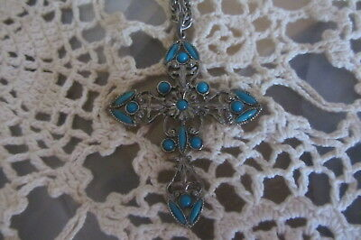 """Vintage Cross With Turquoise Stones 24"""" Long Silver Necklace Costume Estate"""