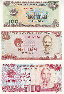 UNIFIED VIETNAM 100, 200 & 500 Dong 1987-1991 Uncirculated notes