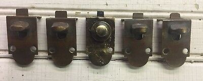 Lot of 5 Antique Vintage **Brass** Mortise Cabinet Door Latches