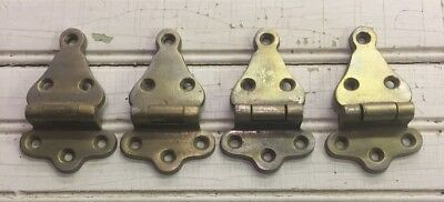 Lot of4Antique Vintage Ice Box/Refrigerator Hinges **Nickel Plated Brass**