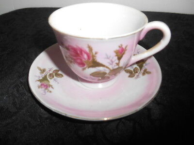 Lovely Vintage White Porcelain Pink Highlights Red Rose Small Tea Cup ca. 1940