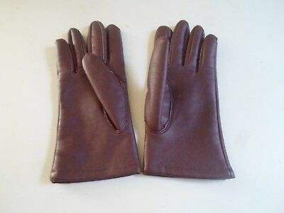 Vintage Retro Dents Made Brown Ladies Vinyl+Acrylic Gloves Size LARGE  §DM6