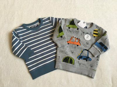 ***BNWT Next baby boys Cars/Blue sweat tops jumpers x2 6-9 months***
