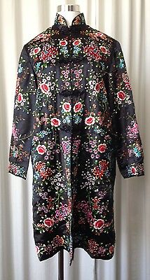 Plum Blossom Vintage Silk Embroidered Floral Chinese Long Jacket Sz36