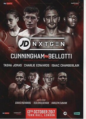 2017 Jason Cunningham Vs Reece Bellotti Commonwealth title boxing programme
