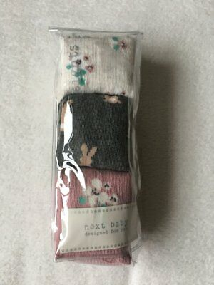 ***BNWT Next baby girls Bunny Floral tights 3 pack set 6-9-12 months***