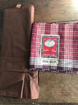 Lot of 2 - Antique 1890s Cotton Fabric Material  - Plaid Brown
