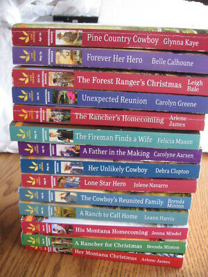 Lot Of 14 Love Inspired Romance Paperback Books--Cowboy, Fireman ++ Nice!!