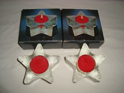 Vintage Avon Starbright Star Shaped Votive Candle Holders Lot Of 2 Nib