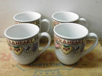 Set of 4 2001 Mary Engelbreit Have A Heart Valentine Cookie Coffee Mugs NICE!