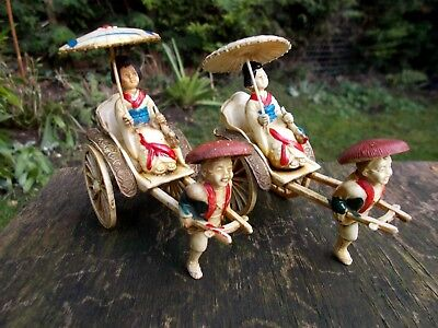 2 VINTAGE ~ANTIQUE~CELLULOID CHINESE RICKSHAWS WITH ORIENTAL FIGURES  c1940s