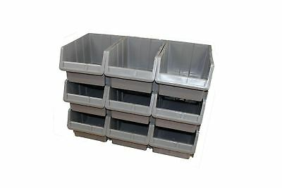 15X Plastic Storage Bins Boxes stackable space bin container box 255X400X200 mm