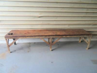 Old Vintage 8' FOOT LONG Salvaged Wood & Metal Industrial Factory Bench Seat