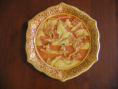 Rare Antique Chinese Carved Cinnabar Plate - Makers Mark