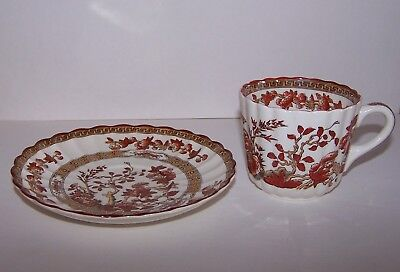 Copeland Spode INDIA TREE Orange Rust Flat Cup with Saucer Old Mark Scallop Rim
