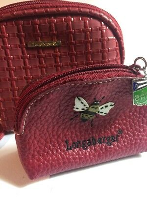 Longaberger Homestead Red Small Coin card Purse Lot Ohio State Charm (A217-3)