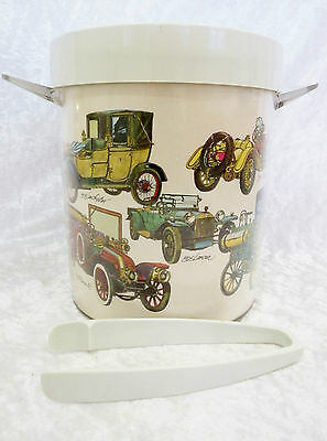 "Plastic Ice Bucket, vintage cars (7 1/4"" x 6 3/8"")  a/f - crack to side of lid"