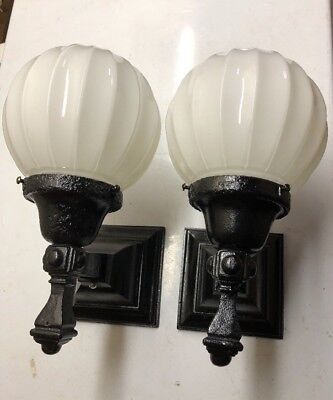 Antique Vintage Arts Crafts Cast Iron Porch Sconce Light Fixture Pair 2 Rewired