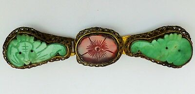 Vintage Chinese Woman Belt Buckle With Red & Green Carved Stone/Plastic Dragon?