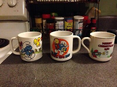 6 VINTAGE Smurfs Coffee Mug Cup  Wallace Berrie  Have a Happy Day CHRISTMAS LOT