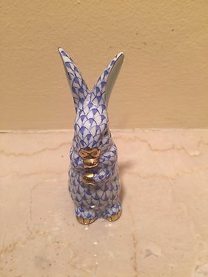 $225 Herend Rabbit Bunny Standing Up Ears * Gold Accent & Blue Fishnet Easter
