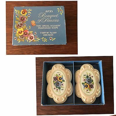 Avon Bouquet Of Pansies Vintage Two Decal Soaps In Box Collectable