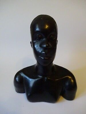 Vintage African Tribal bust Carved  black ebony Wood of a man 7 ins in height