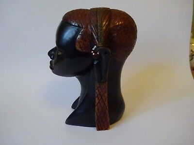 Vintage African Tribal bust Carved  dark brown Wood of a lady with bead earrings