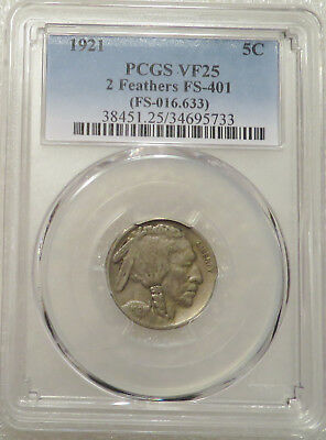 1921 PCGS VF25 Buffalo 5c - 2 Feathers FS-401, Nice original coin, Two Feathers