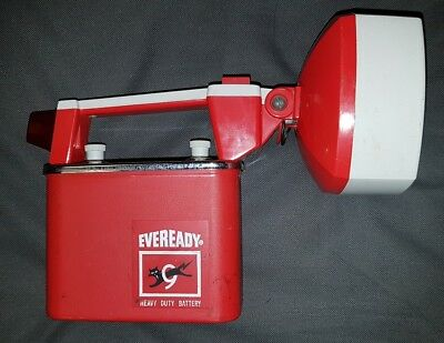 Vintage Torch Eveready Big Jim Flashlight GREAT CONDITION wORIGINAL RED BATTERY