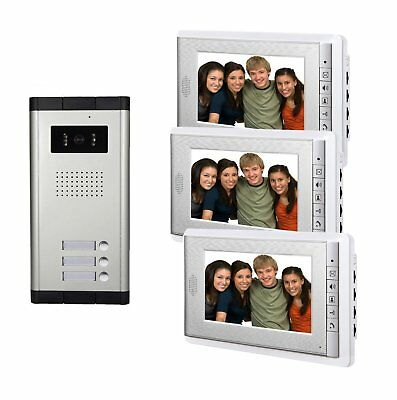 AMOCAM Video Door Phone Intercom System with 3 screen 7inch LCD Monitor