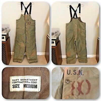VTG 40s WW2 WWII US Navy OD Deck Trousers Medium Overalls Wool USN Insulated